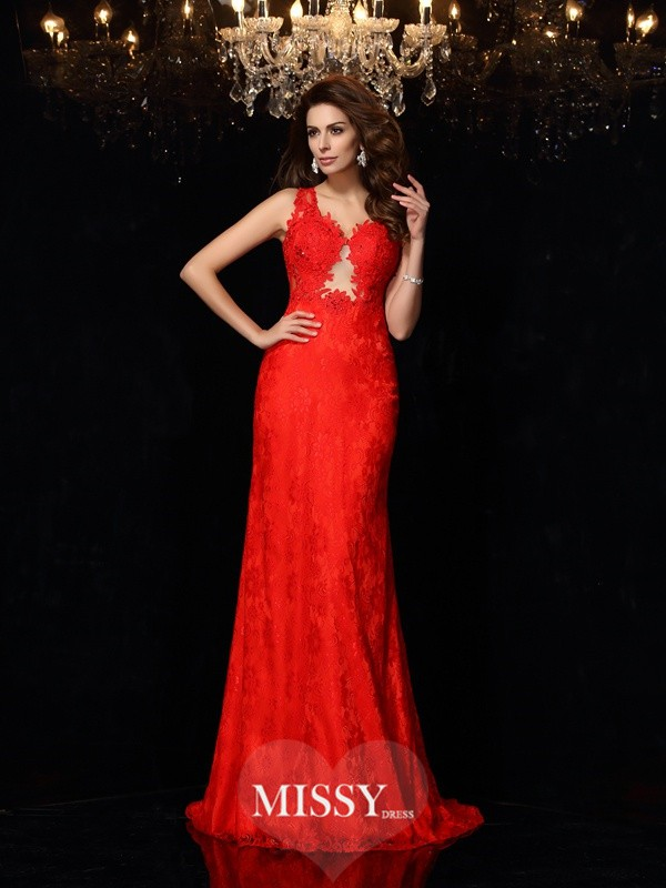 Sheath/Column V-neck Lace Satin Sweep/Brush Train Dresses