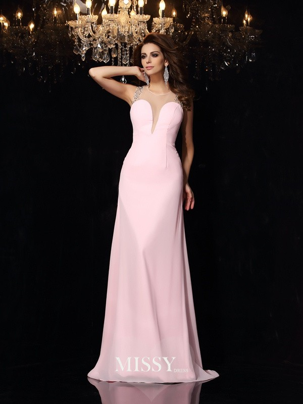 Trumpet/Mermaid Scoop Chiffon Beading Court Train Dresses
