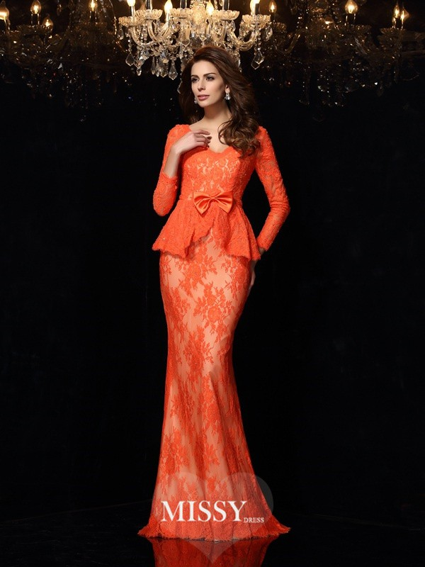 Sheath/Column V-neck Long Sleeves Bowknot Lace Sweep/Brush Train Dresses