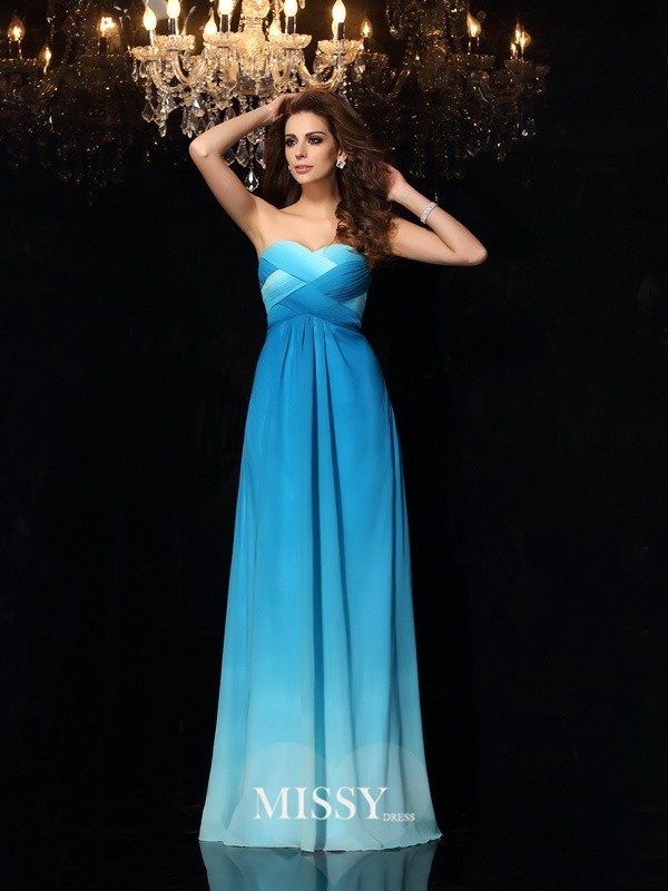 A-Line/Princess Sweetheart Chiffon Floor-Length Ruched Dresses
