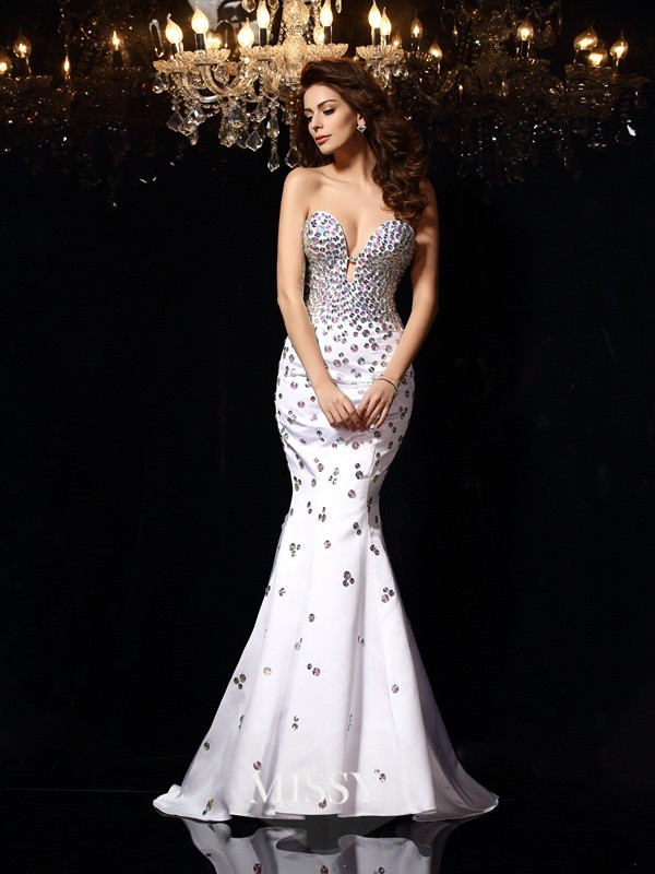 Trumpet/Mermaid Sweetheart Rhinestone Satin Court Train Dresses
