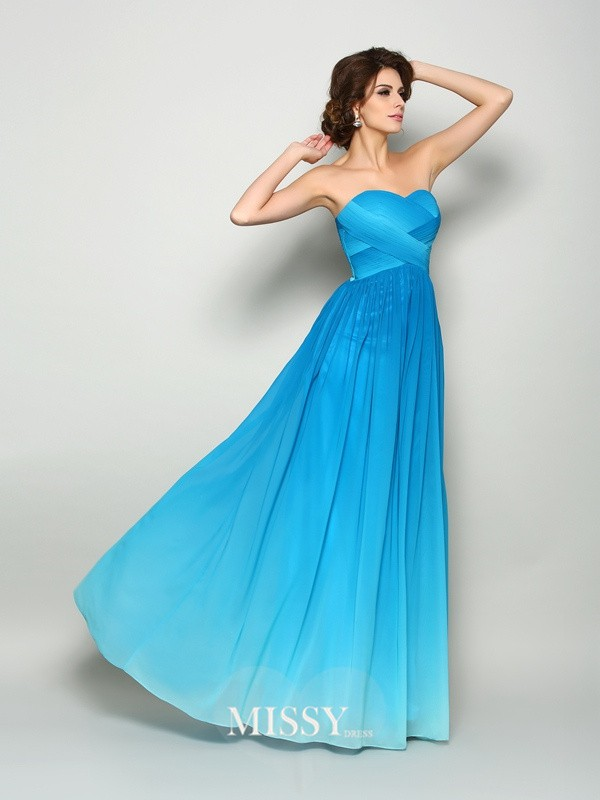 A-Line/Princess Sweetheart Chiffon Floor-Length Pleats Dresses
