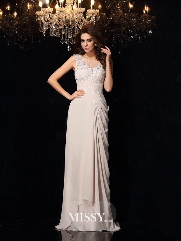Trumpet/Mermaid Bateau Sleeveless Lace Sweep/Brush Train Chiffon Gowns