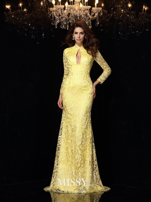Sheath/Column High Neck Long Sleeves Lace Satin Sweep/Brush Train Dresses
