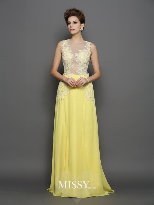 A-Line/Princess Scoop Chiffon Lace Sweep/Brush Train Dresses