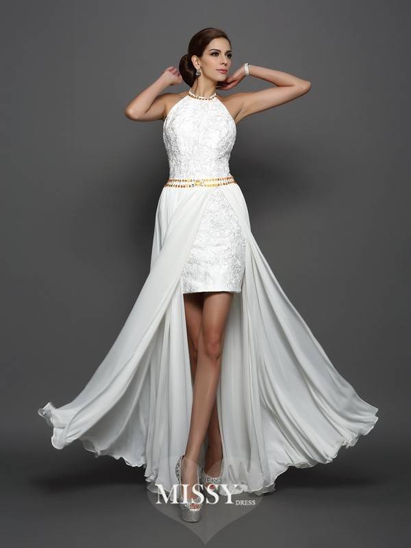 A-Line/Princess High Neck Chiffon Lace Chapel Train Wedding Dresses