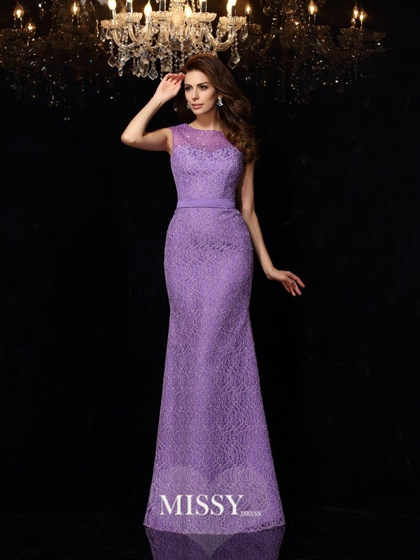 Sheath/Column Scoop Lace Satin Floor-Length Dresses