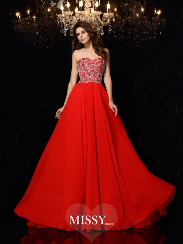 A-Line/Princess Sweetheart Beading Chiffon Sweep/Brush Train Dresses