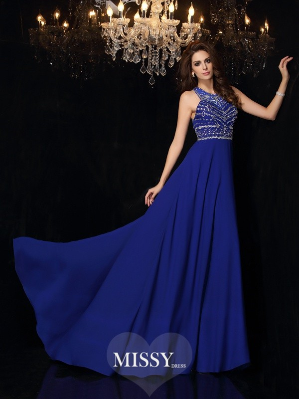 A-Line/Princess High Neck Beading Chiffon Sweep/Brush Train Dresses