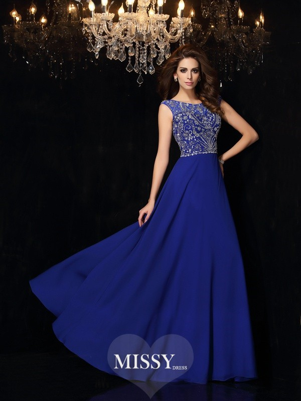 Princess Scoop Beading Floor-Length Chiffon Dresses