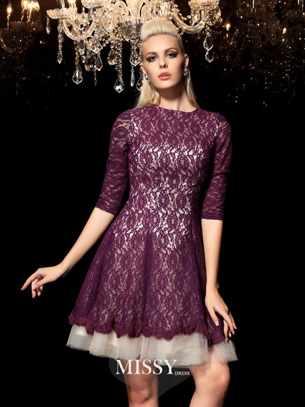 A-Line Sheer Neck 1/2 Sleeves Lace Short/Mini Lace Cocktail Dresses