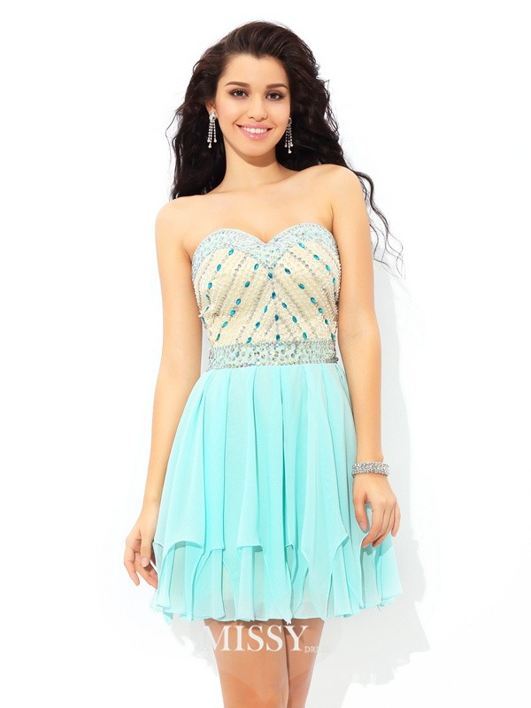 A-Line/Princess Sweetheart Sleeveless Beading Short/Mini Chiffon Cocktail Dress