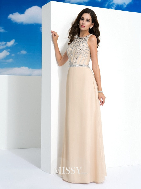 Scoop Sleeveless Beading Floor-Length Chiffon Dress