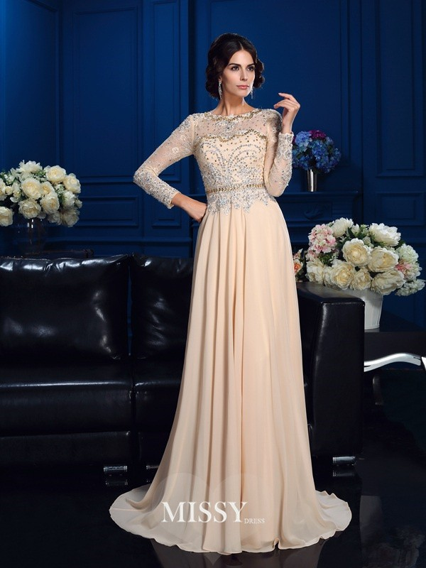 A-Line/Princess Scoop Long Sleeves Beading Sweep Chiffon Mother Of The Bride Dresses