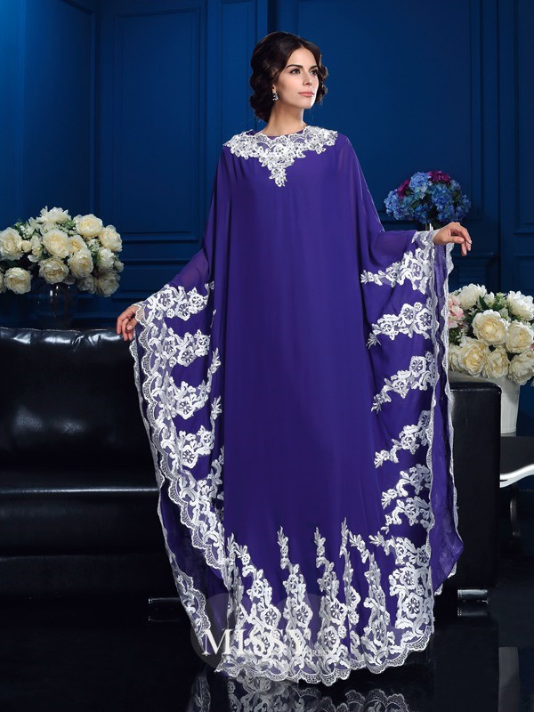A-Line/Princess Scoop Long Sleeves Floor-Length Chiffon Mother Of The Bride Dresses