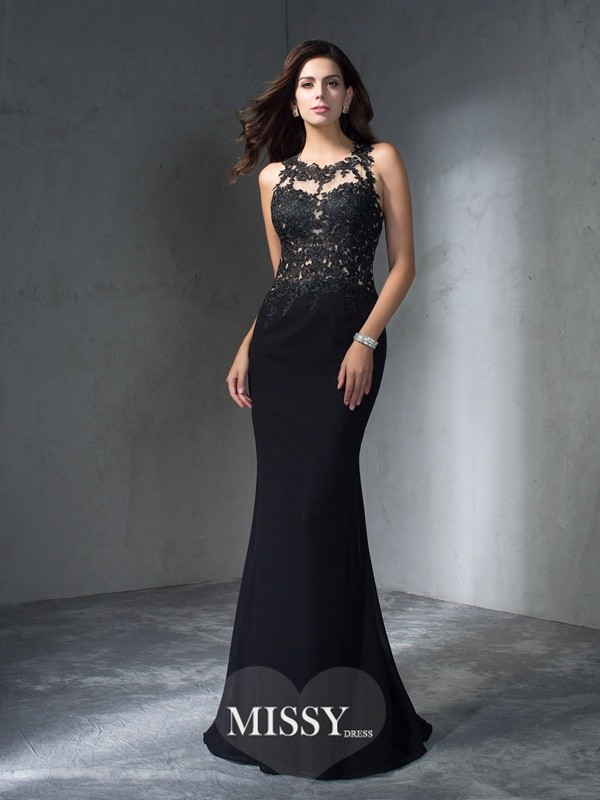Trumpet/Mermaid Scoop Applique Sleeveless Sweep/Brush Train Chiffon Dress