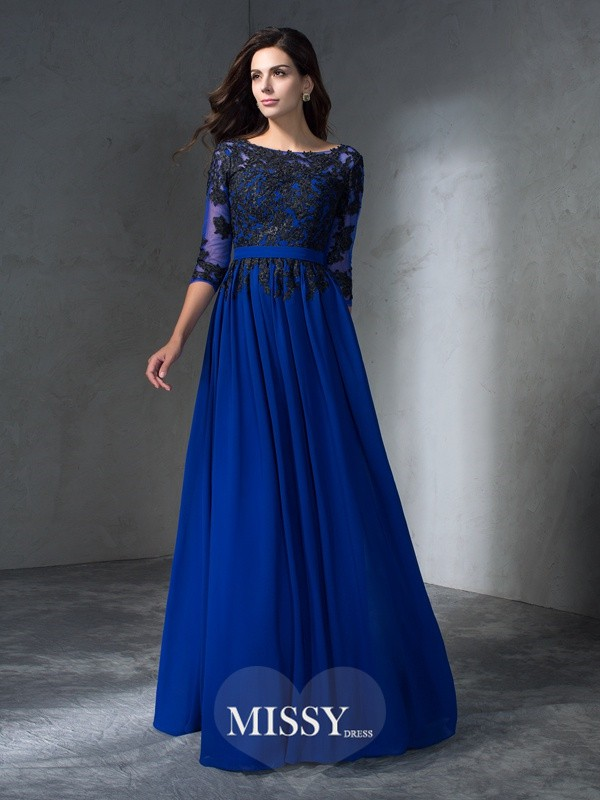 A-Line/Princess Scoop 3/4 Sleeves Applique Floor-Length Chiffon Dress
