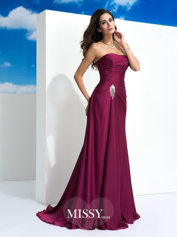 A-Line/Princess Strapless Sleeveless Pleats Sweep/Brush Train Satin Chiffon Dress