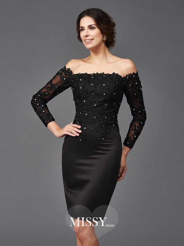 Column Lace Long Sleeves Off-the-Shoulder Knee-Length Satin Mother of the Bride Dresses
