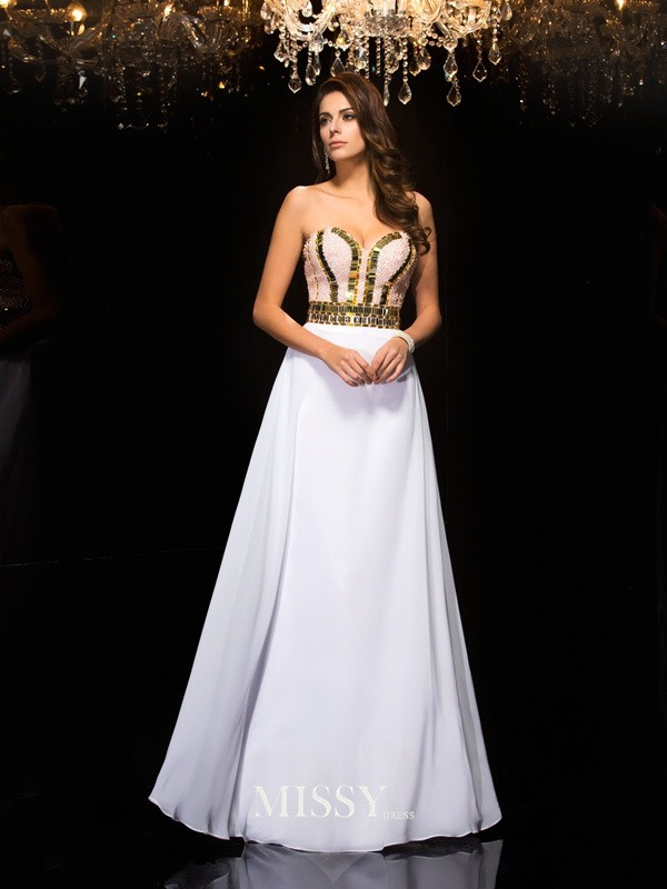 A-Line/Princess Sweetheart Sequin Chiffon Floor-Length Dresses