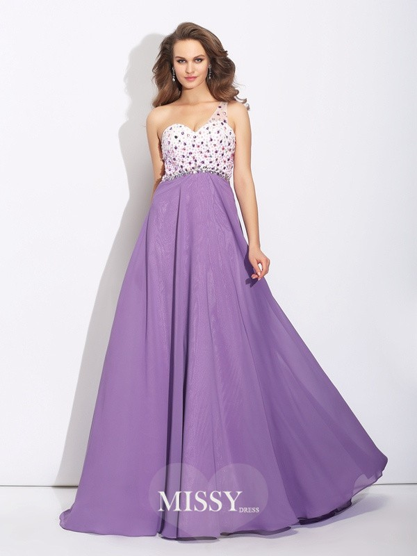 A-Line/Princess One-Shoulder Crystal Sweep/Brush Train Chiffon Dresses