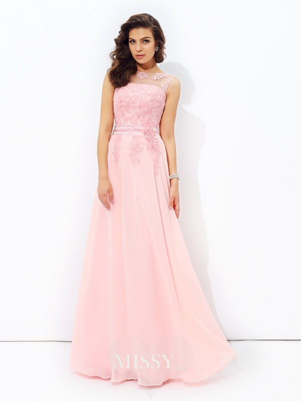 A-Line/Princess Sleeveless Scoop Applique Floor-length Chiffon Dress