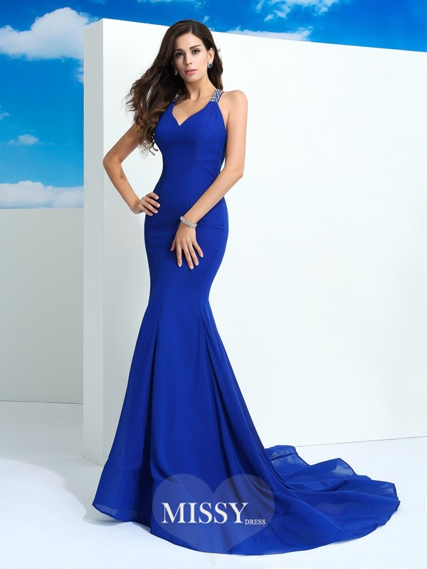 Sheath/Column Straps Sleeveless Beading Court Train Chiffon Dress