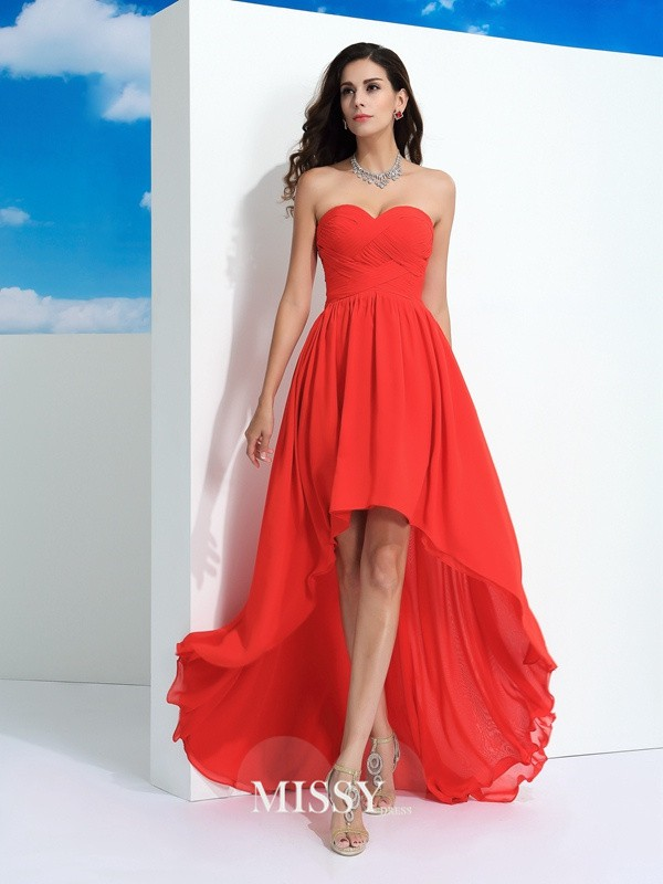 A-Line/Princess Sweetheart Sleeveless Pleats Asymmetrical Chiffon Dress