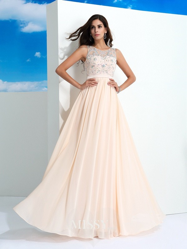 A-Line/Princess Beading Sheer Neck Sleeveless Floor-Length Chiffon Dress