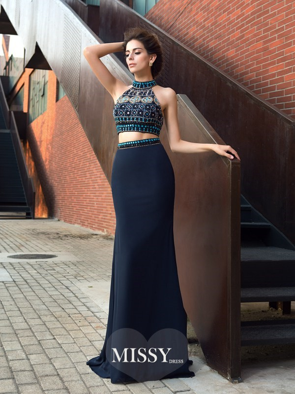 Sheath/Column Sleeveless High Neck Beading Chiffon Sweep/Brush Train Two Piece Dress