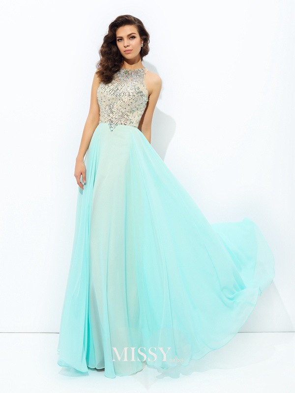 A-Line/Princess Jewel Sleeveless Beading Chiffon Dress