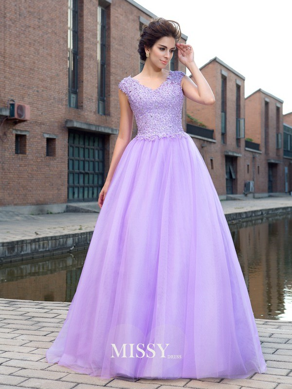 Ball Gown V-neck Short Sleeves Net Floor-Length Applique Dress