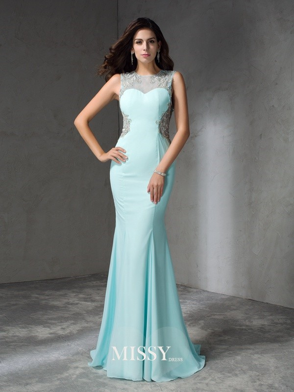 Trumpet/Mermaid Jewel Sleeveless Beading Sweep/Brush Train Chiffon Dress