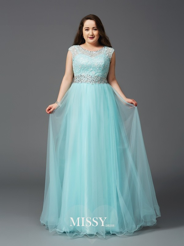 A-Line/Princess Scoop Sleeveless Rhinestone Floor-Length Elastic Woven Satin Full Size Dresses