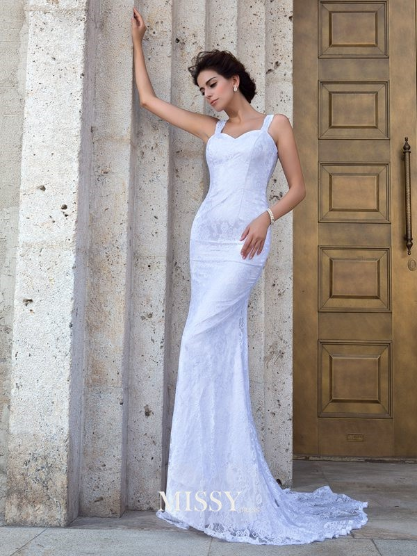 Sheath/Column Straps Sleeveless Applique Court Train Lace Wedding Dress