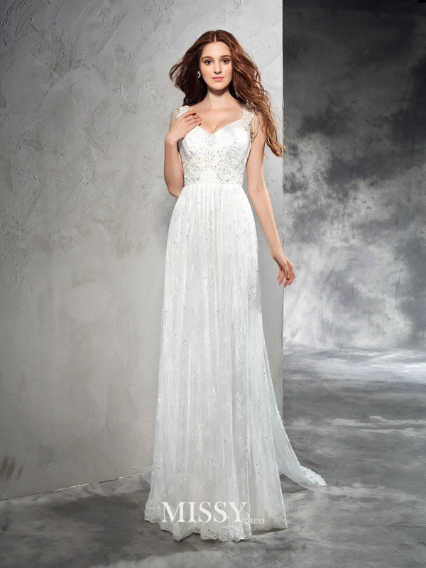 Princess Straps Sleeveless Lace Court Train Lace Wedding Dresses