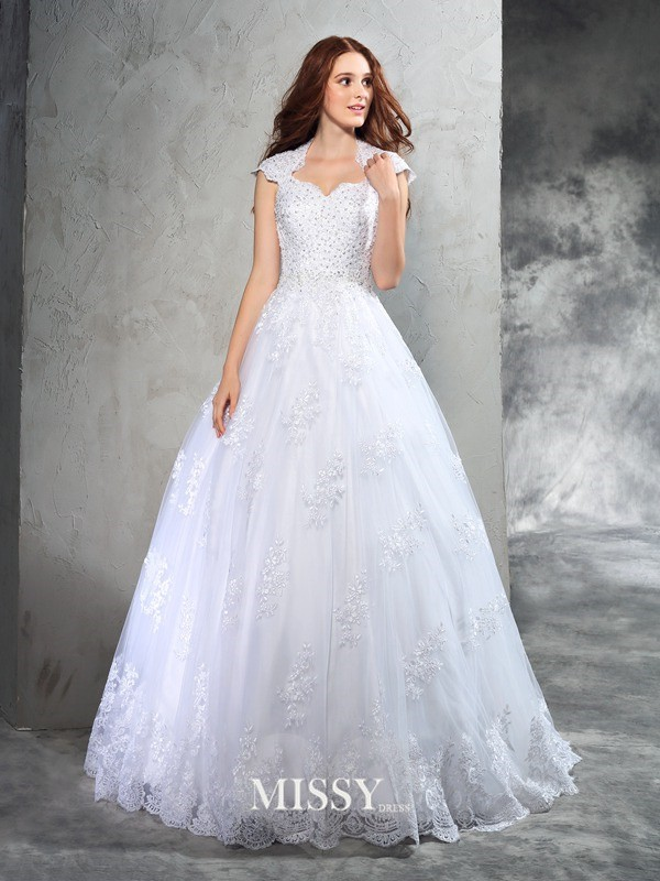 Ball Gown Sweetheart Sleeveless Lace Court Train Organza Wedding Dresses
