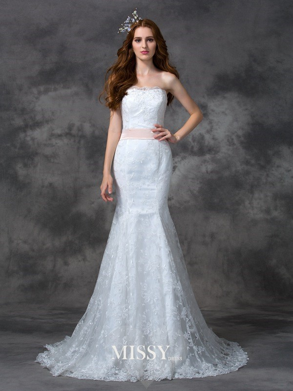 Trumpet/Mermaid Strapless Sash/Ribbon/Belt Court Train Lace Wedding Dresses