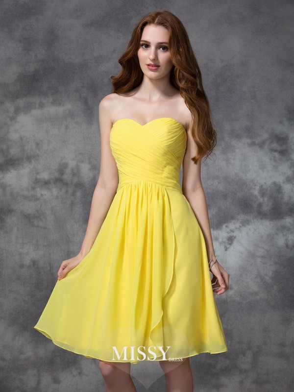 A-line/Princess Sweetheart Knee-length Ruched Chiffon Bridesmaid Dresses