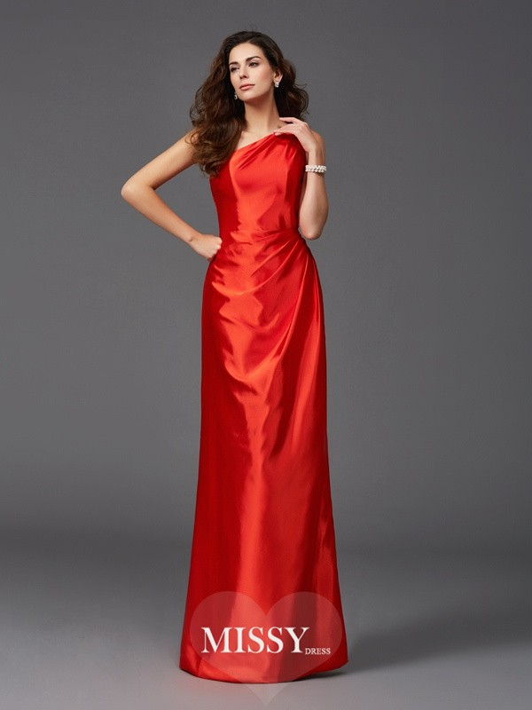 Sheath/Column One-Shoulder Sleeveless Floor-Length Elastic Woven Satin Bridesmaid Dresses