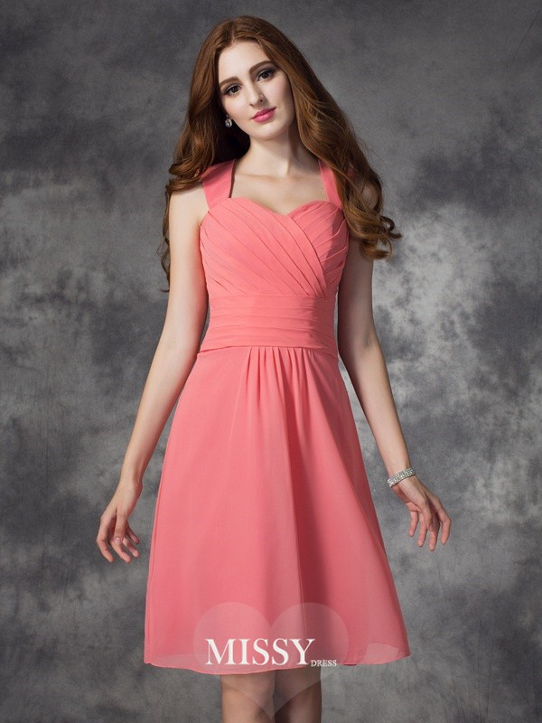 A-line/Princess Straps Ruched Knee-Length Chiffon Bridesmaid Dresses