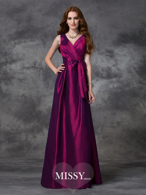 A-line/Princess V-neck Sash/Ribbon/Belt Floor-length Taffeta Bridesmaid Dresses