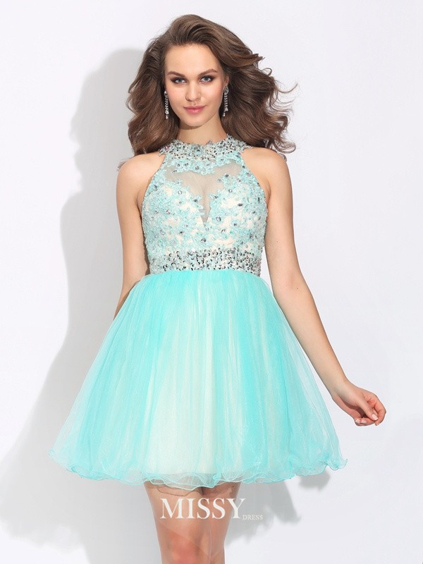 A-Line/Princess High Neck Lace Sleeveless Mini Net Dresses