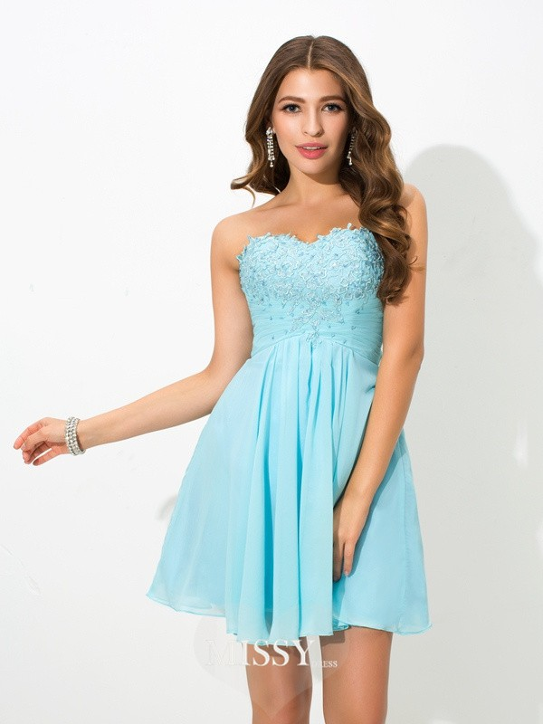 A-Line/Princess Sweetheart Beading Mini Chiffon Cocktail Dresses