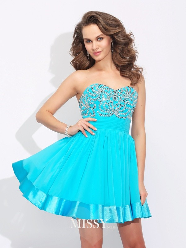 A-Line/Princess Sweetheart Sleeveless Mini Chiffon Dresses