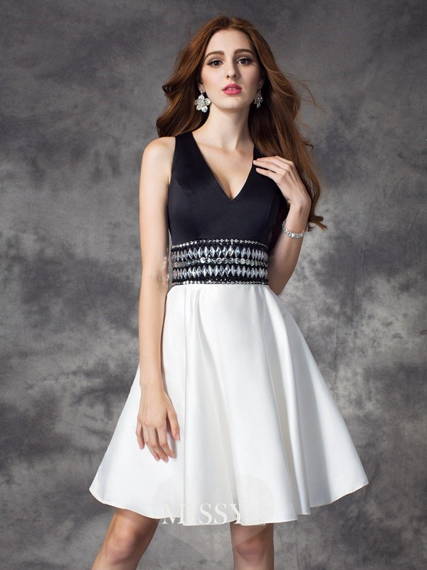 A-line/Princess V-neck Sleeveless Rhinestone Mini Satin Dresses