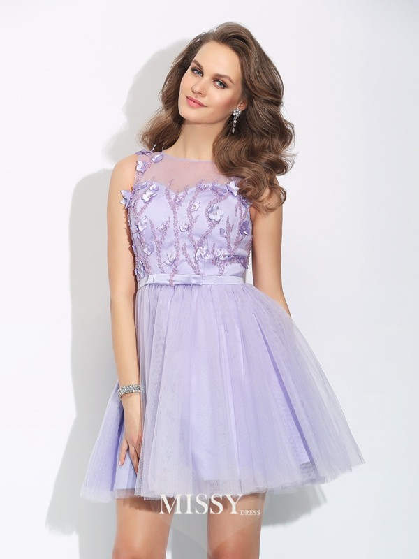 A-Line/Princess Bateau Applique Sleeveless Mini Satin Dresses
