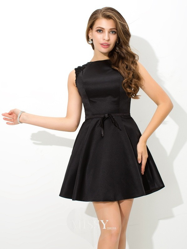 A-Line/Princess High Neck Sleeveless Sash Short/Mini Satin Cocktail Dresses