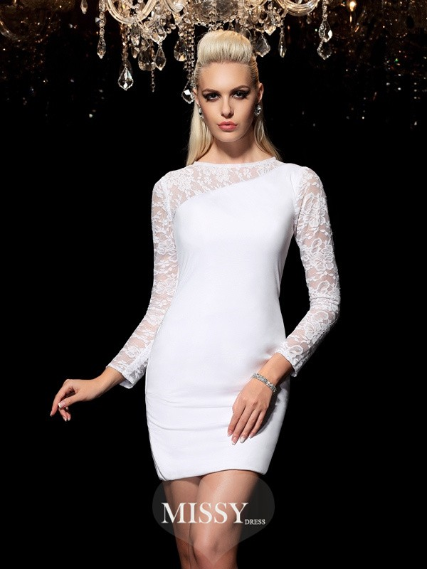 Sheath/Column Scoop Long Sleeves Lace Mini Elastic Woven Satin Cocktail Dresses
