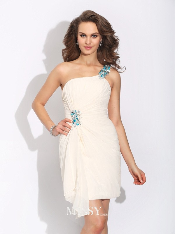 Sheath/Column Sleeveless One-Shoulder Short/Mini Chiffon Dresses